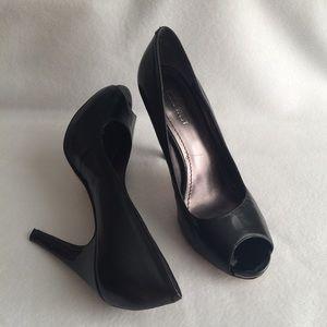 Nine West Black Peep Toe Leather Stiletto Heels